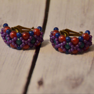 vintage bright color half circle clip earrings 80s